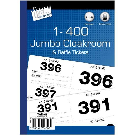 JS Jumbo Cloakroom & Raffle Tickers 1-400