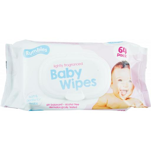 Rumbles Lightly Fragranced Baby Wipes - Pack of 64