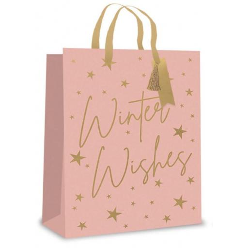 Tallon Christmas Gift Bag, Blush 'Winter Wishes' Large Size - Pack of 12