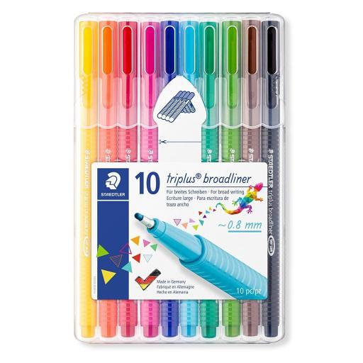Staedtler Triplus Broadliner Pens 0.8mm Assorted - Pack of 10