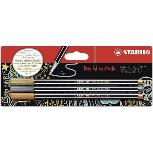 Stabilo Pen 68 Metallic, Gold, Silver & Copper - Pack of 3