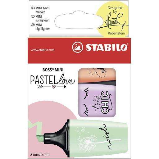 Stabilo Boss Mini Pastellove Highlighter Pens - Pack of 3 (GPO)
