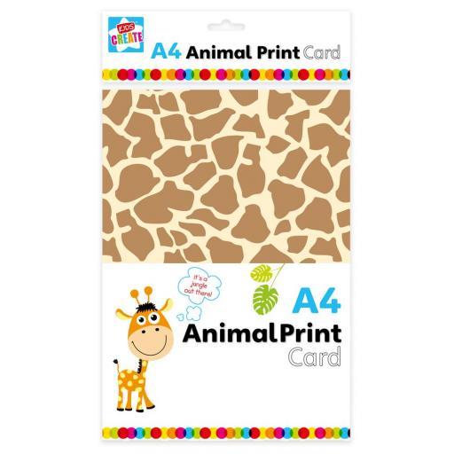 Kids Create A4 Card, Animal Print Designs - Pack of 12