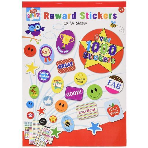 Kids Create Reward A4 Sticker Pad, 10 Sheets - 1,000 Stickers