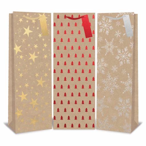 Tallon Christmas Bottle Bag Kraft Design - Single