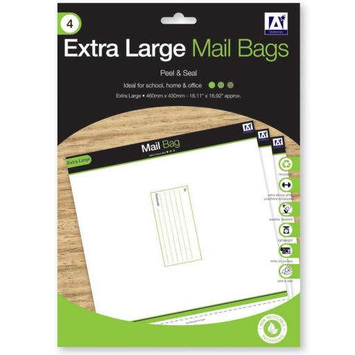 IGD Extra Large Mail Bags 46x43cm, Peel & Seal - Pack of 4
