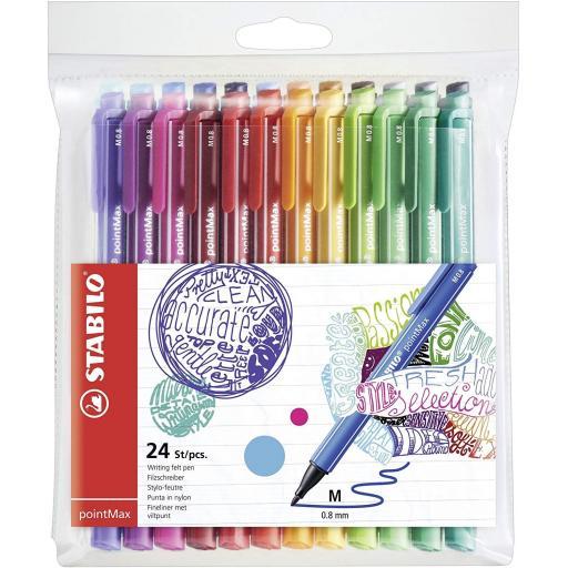 Stabilo PointMax Nylon Tip Felt Pens - Pack of 24