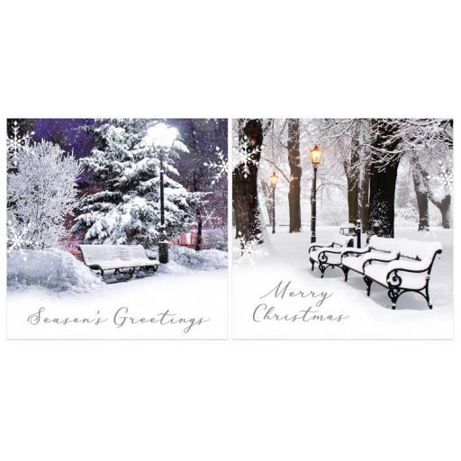 North Pole Luxury Square Christmas Cards, Winter Scene - Box of 12