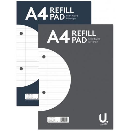 U. A4 Feint Ruled & Margin Refill Pad - 160pg