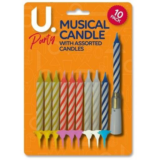 U.Party - Musical Birthday Candle + Assorted Candles - Pack of 10