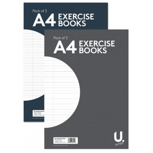 U. A4 Exercise Books - Pack of 3