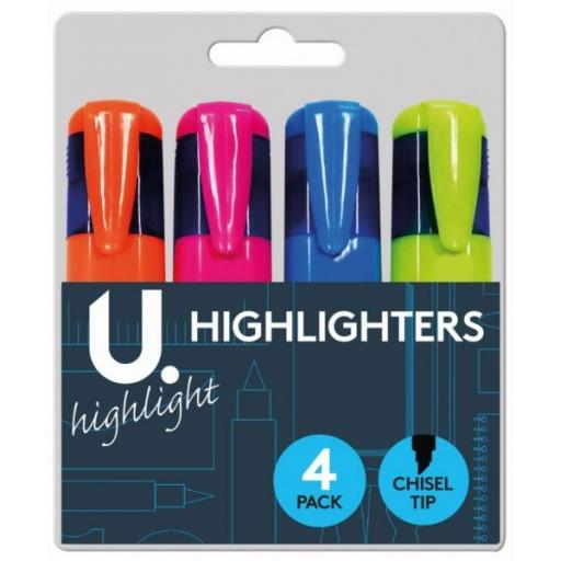 U. Chisel Tip Highlighters, Assorted Colours - Pack of 4