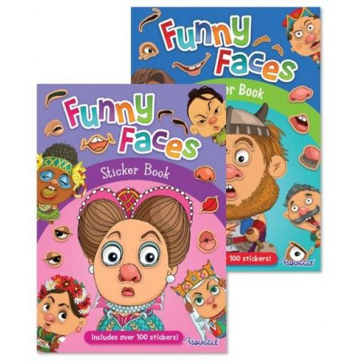 Squiggle Funny Faces Sticker Books - Set of 2