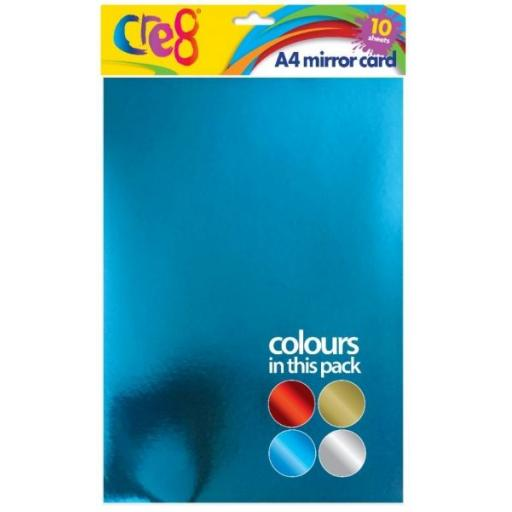 Cre8 A4 Mirror Card, Assorted Colours - 10 Sheets