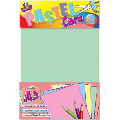 Artbox A3 Pastel Card, Assorted Colours - Pack of 10