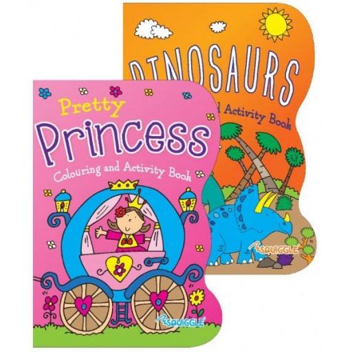 Squiggle Colouring & Sticker Books, Dinosaur & Princess - Set of 2