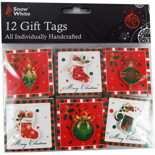 PMS Snow White Handcrafted Xmas Tags - Pack of 12
