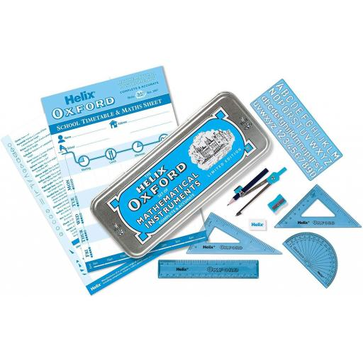 Helix Oxford Limited Edition Maths Set in Tin - Blue