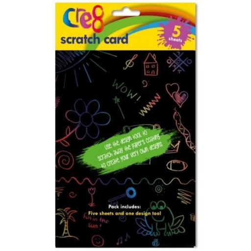 Cre8 A5 Black Scratch Card - Pack of 5