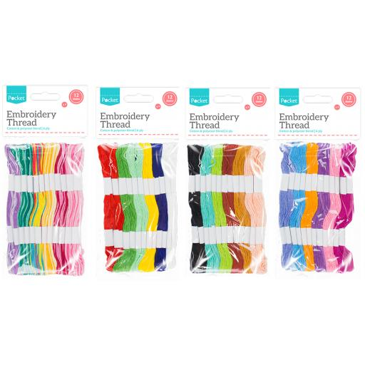 Assorted Colour Embroidery Thread - 12 Skeins