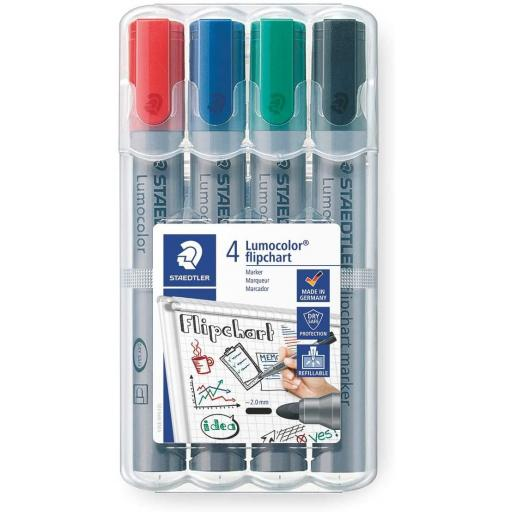 Staedtler Lumocolor Flipchart Markers - Pack of 4