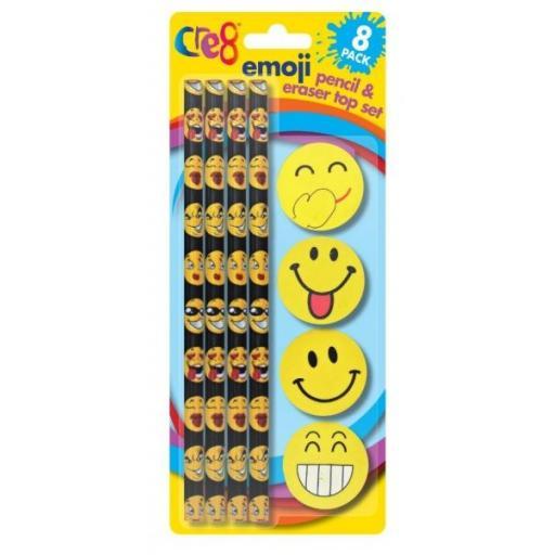 Cre8 Emoji Pencil & Eraser Set - Pack of 8