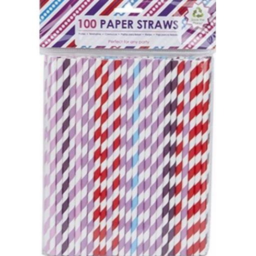 PMS Assorted Paper Straws - Pack of 100