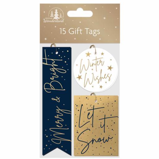 Tallon Festive Wonderland Blue & Gold Gift Tags - Pack of 15