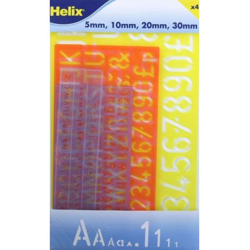 Helix Lettering Stencil Set, 5/10/20/30mm - Pack of 4