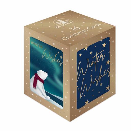 Festive Wonderland Mini Christmas Cards, Navy & Gold Bear - Box of 16