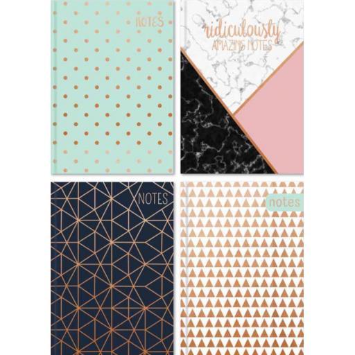 Tallon A6 Hardback Notebook Copper Foil - Assorted Designs