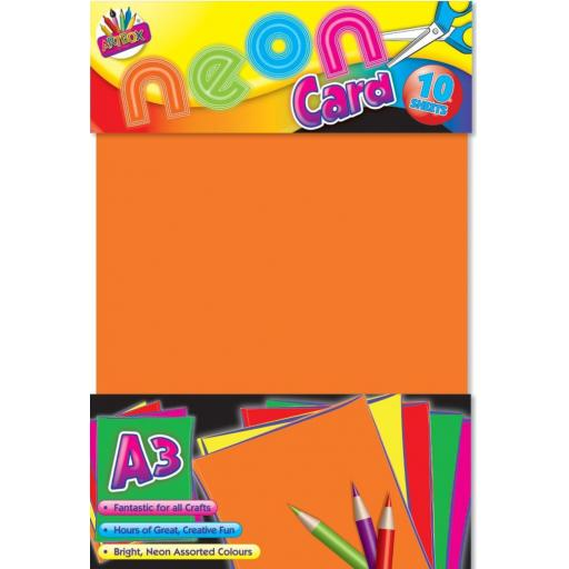 Artbox A3 Neon Card, Assorted Colours - Pack of 10