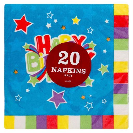 Happy Birthday 3ply Party Napkins - Pack of 20