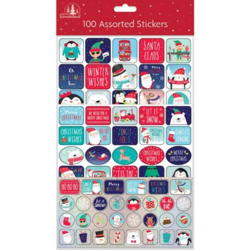 Festive Wonderland Assorted Christmas Stickers - Pack of 100