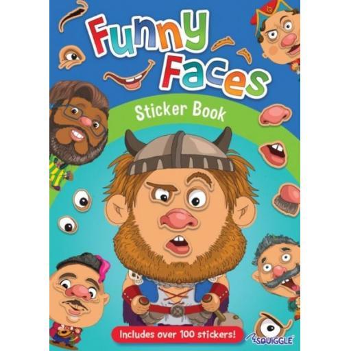 Squiggle Funny Faces Sticker Book - Boys Designs