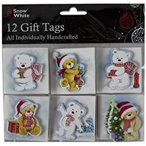 PMS Snow White Handcrafted Gift Tags, Bears - Pack of 12