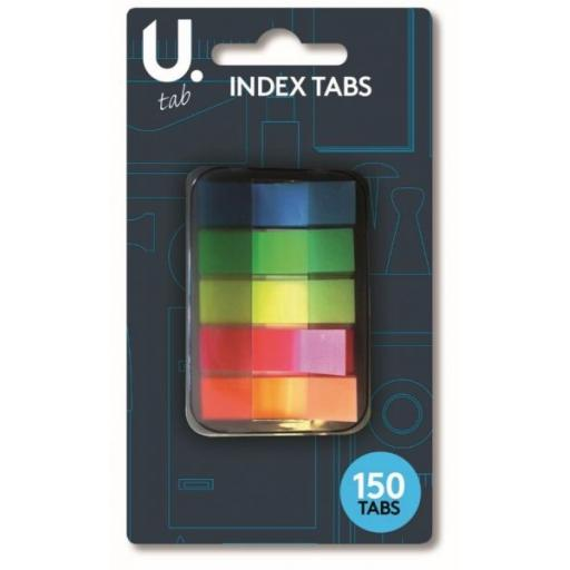 U. Neon Index Tabs, Assorted Colours - Pack of 150