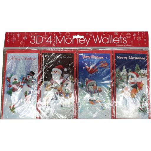 Tulip 3D Christmas Money Wallets Cute - Pack of 4