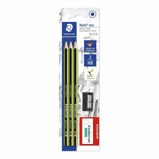 Staedtler Eco Set - 3 HB Pencils, Eraser & Sharpener