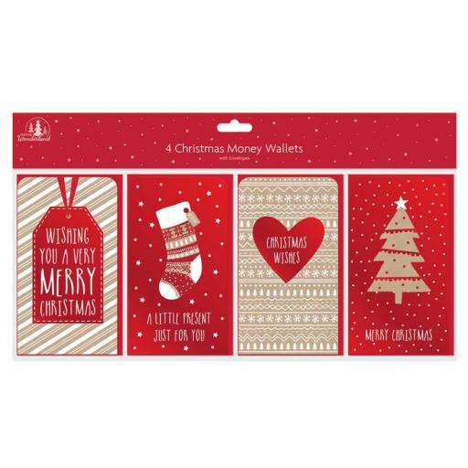 Tallon Christmas Money Wallets Kraft Designs - Pack of 4