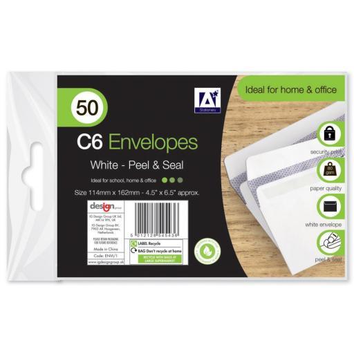 IGD White C6 Peel & Seal Envelopes - Pack of 50