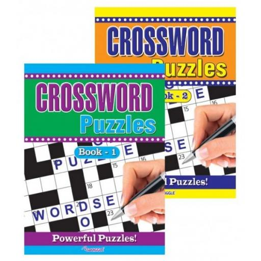 Squiggle A4 Crossword Puzzle Books - Set of 2