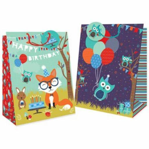 Tallon Gift Bags Woodland Design, Extra Large - Pack of 12