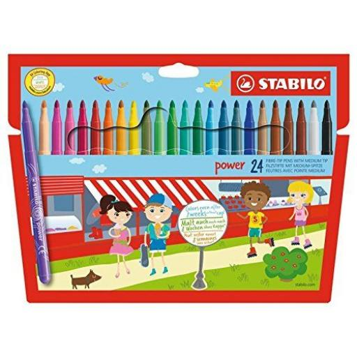 Stabilo Power Fibre Tip Pens, Medium Tip - Pack of 24