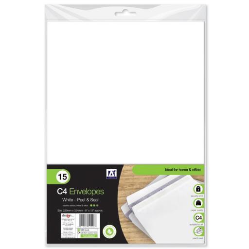 IGD White C4 Peel & Seal Envelopes - Pack of 15