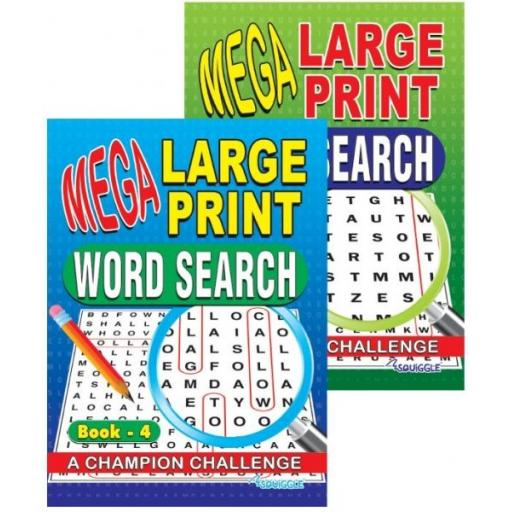 Squiggle A4 Mega Large Print Wordsearch Books 3&4 - Set of 2