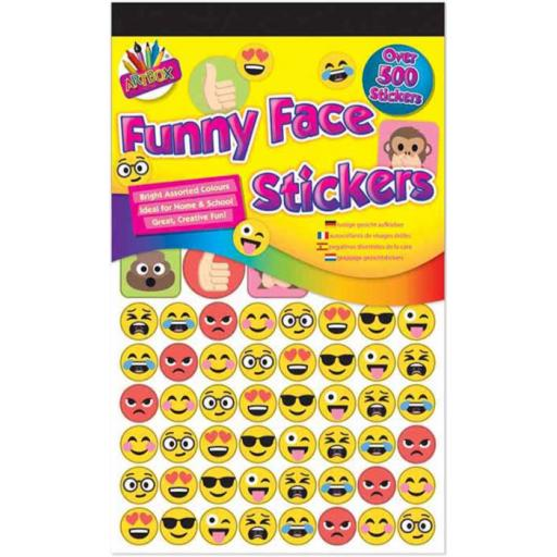 Artbox Funny Face Emoji Stickers - Pack of 500