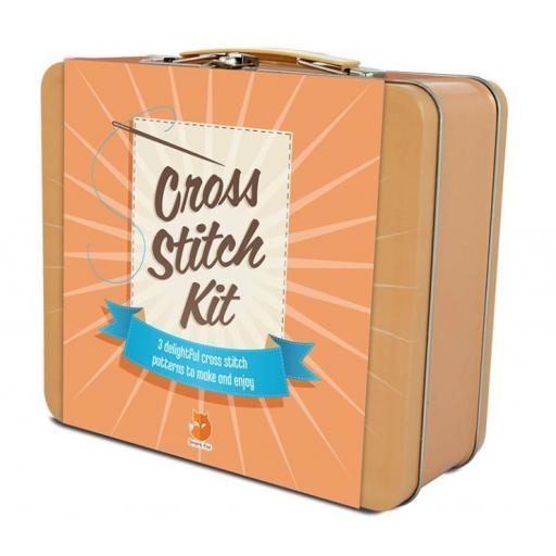 Smart Fox Cross Stitch Kit in Tin