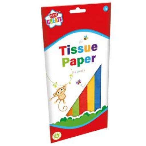 IGD Kids Create Tissue Paper, Assorted Colours - Pack of 16