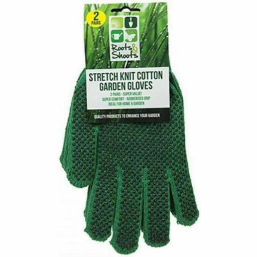 PMS Stretch Knit Gardening Gloves, Green - Pack of 2 Pairs